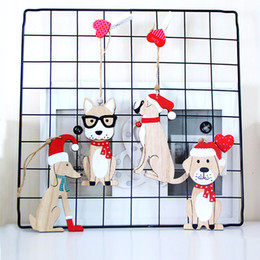 $enCountryForm.capitalKeyWord Australia - 2PCS Cute Dog Wooden Pendants Christmas Ornaments for Xmas Tree Home Door Decoration Hanging Ornaments New Year Kids Gift
