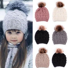 mohair crochet hat NZ - 1pcs Fashion Children Kids Mohair Knitted Beanie With Pompom Baby Girl Boy Winter Outdoor Soft Hats Crochet Warm Beanies Xmas Gift T440