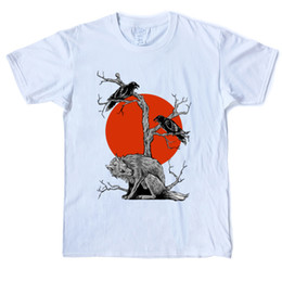 moon printed tee NZ - Wolf and Ravens before Red Moon T Shirt Men Cotton Fashion T-Shirt Crew Neck Short Sleeve Street XS-3XL Tees Shirt Casual Printed Tops