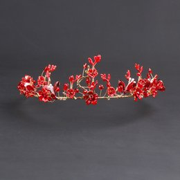 wedding bride dress chinese Australia - Fashion Bride Red Crown Chinese Marry bridal tiaras Red Wedding Dress Accessories Modeling Hair Ornaments Crown Headwear