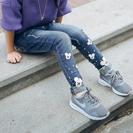 Jeans Children Cartoon Australia - 2019 Plus Velvet Thickening Winter Girls Jeans Child Cartoon Skinny Pants Long Trousers