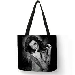 $enCountryForm.capitalKeyWord Canada - New Arrival Shoulder Bag Bolsa De Hombro Tatoos Art Skull Linen Foldable Handbags Casual Large Shopping Working Women Totes