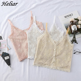 $enCountryForm.capitalKeyWord NZ - HELIAR 2019 Newest Hot Women Tank Tops Summer Ladies Sexy Tank Tops V-Neck Sheer Lace Casual Sleeveless Camisole Wth Buttons