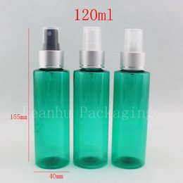 pump bottle plastic green 2019 - 120ml X 40 green plastic spray bottle 120cc aluminum spray nozzle fine mist pump cosmetic bottles containers, water bott