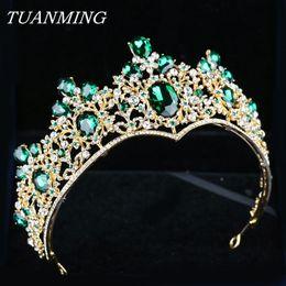 Golden Hairs Australia - Baroque Golden Crown & Tiara Bride Headbands Green Crystal Crown Rhinestone Hair Jewelry Pageant Prom Women Head Accessories C18122501