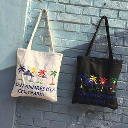 Cheap Cotton Backpacks NZ - 2019 Casual Canvas Shoulder Bag Simple Clear Cross body Bags Summer Beach Bag Casual Tote for Shopping Cheap Handbags for Girls