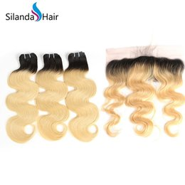 China Silanda Hair Good Quality Ombre Color #T 1B 613 Body Wave Remy Human Hair Weaves 3 Bundles With 13X4 Lace Frontal Closure Free Shipping supplier good quality human hair suppliers