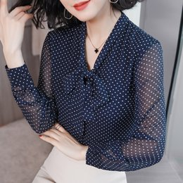 polka dot spring blouse 2020 - 2019 New Spring Fashion Women's Clothing Chiffon Dot Printing Long Sleeves Shirts Bow Stand Collar Top Blouse Femal
