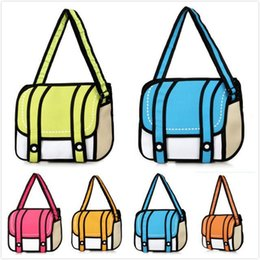 601c3a38b6c1 New Fashion 2D Bags Novelty Back To School Bag 3D Drawing Cartoon Paper  Comic Handbag Women Shoulder Bag