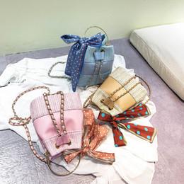 Shoulders Knots Australia - Coneed Women's Fashion Retro Shoulder Bag Solid Color Woven Beach 2019 Ribbon Bow-Knot Bucket Bags May25 P35