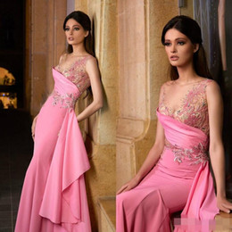 evening dress fuchsia Canada - 2020 Tony Chaaya Fuchsia Prom Pageant Dresses Sheer Neck Cap Sleeve Lace Embroidery Chiffon Flowy Ribbon Occasion Evening Gowns