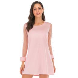 db9214a14d WOMAIL Verano coreano Bead Mesh Solid Nueva moda Ropa versátil lindo manga  corta O-cuello vestido rosa Vestidos w30502