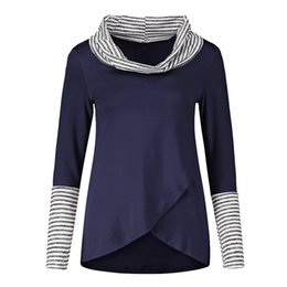 a9588d8e437a 2019 new popular printing fashion eacy Fashion New Amazon Fashion Stripe  High-collar Coloured Long Sleeve Top