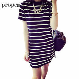 Black White Striped Dress Sleeves Australia - Women Dress 2017 New Fashion Summer Striped Black White Mini Sexy Plus Size Party Club Short Sleeve O Neck Dresses