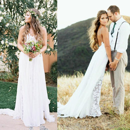 $enCountryForm.capitalKeyWord Australia - Sexy Backless Rustic Country Wedding Dresses A Line Latest 2019 Bohemian Style Beach Boho Cheap Spaghetti Straps Plus Size Long Wedding Gown