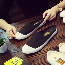 $enCountryForm.capitalKeyWord Australia - Summer ladies canvas shoes Korean half-small white shoes Harajuku ulzzang lazy slippers ins super fire ladies