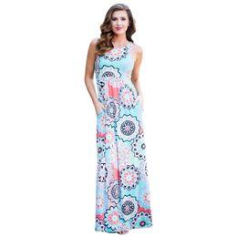 62ca9696b11a Summer 2019 Casual Women Robe Sleeveless O-neck Fashion Print Maxi Dress  High Waist Pocket Boho Dress Plus Size Big Swing Dress