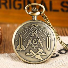 watches for sales 2019 - Hot Sale Freemasonry Theme Quartz Pocket Watch Mason Souvenir Pendant Clock Gifts for Men Women with Bronze Necklace Cha
