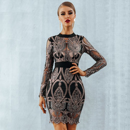 2019 New Summer Celebrity Party Sequin Dresses Women Long Sleeve Backless  Sexy Mesh Hollow Out Luxury Club Dress Vestidos 3eff34ad55db