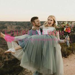 $enCountryForm.capitalKeyWord NZ - 2019 Vintage Light Grey Tulle Wedding Dresses Off The Shoulder Long Sleeve Lace Floor Length Boho Rustic Bridal Gown Cheap Summer Sale