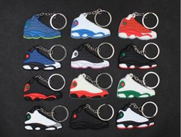 christmas gift shoes NZ - Mix Cute Silicone basketball shoes Key Chain aj13 Sneaker Keychain Kids Key Rings Key Holder for Woman and Girl Christmas Gifts DHL Free