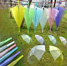 umbrellas for adults NZ - New Transparent Clear EVC Umbrella Long Handle Rain Sun Umbrella See Through Colorful Umbrella for Rainproof Wedding Photo for Adult Kids