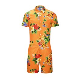 Hawaiian Guitar NZ - 2019 Hawaiian Beach Floral Guitar Men Romper 3d Jumpsuit Playsuit Harajuku Overalls One Piece Jumpsuit Hawaiian Shirt Men's Sets