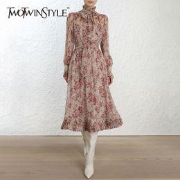 a9c8e103d37e abito autunno stampa femminile femminile Lace up Bowknot Lanterna manica  lunga pizzo abiti pieghettati 2018 moda coreana