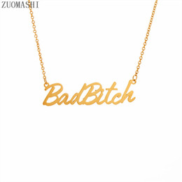 Discount bitch jewelry - 1Pcs Fashion Statement Necklace Letter Bad Bitch Pendant Necklace Hot Selling European and American Jewelry For Women Gi