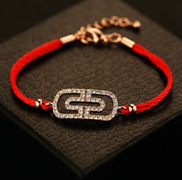 Discount silver snake mens bracelet - 316L Stainless Steel paperclip string Bracelet with diamon red red rope hand strap couple bracelets for women mens jewel