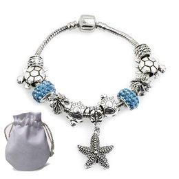 $enCountryForm.capitalKeyWord Australia - Fine Silver Charms Bracelets Fit Pandora Women Bangle Blue Glass Crystal Beads Openwork Hollow Beaded Big Hole Starfish Pendant Jewelry P191