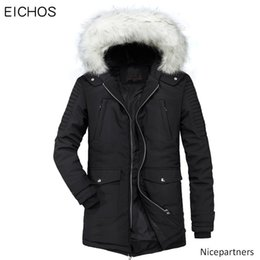 winter parka jackets for men Australia - EICHOS New Thick Parka Men Coats Winter Jacket Men Fashion Hood Fleece Warm Parkas For Casual Zipper Long Clothes