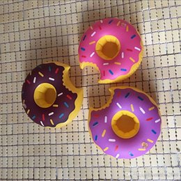 Pink Inflatable Pools Australia - Inflatable Donut Coasters Drink Holder Lovely Donut Swim Float Pool Floating For 12 oz Sodas at Your Beach Party 3 COLORS