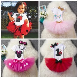 baby girls 1st birthday tutus 2019 - Babies birthday outfits rompers+tutus skirts+sequin headband 3pcs set infant party holidays dress up 1st 2nd year toddle