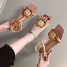 $enCountryForm.capitalKeyWord Australia - Pretty2019 Summer Rough Joker With One Word Bring Metal Buckle Square Fairy Wind Rome Sandals Woman