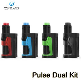 Discount box mod rda kit - Vandy Vape PULSE DUAL KIT 220W Pulse Dual MOD with Vandyvape 2ml Pulse V2 RDA Tank Atomizer Squonk Box Kits 100% Authent