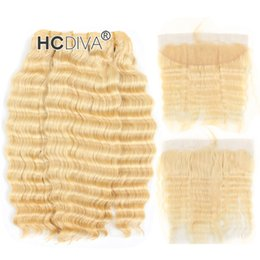 Curl blonde human hair online shopping - Top Quality Blonde Bundle Hair with Lace Frontal inch Malaysian Virgin Deep Curl Honey Blonde Human Hair Extensions