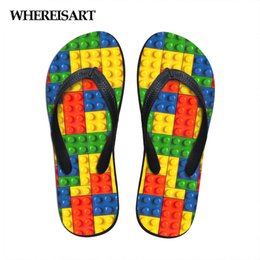 $enCountryForm.capitalKeyWord Australia - WHEREISART Women Flats House Slipper 3D Tetris Print Summer Fashion Beach Sandals for Woman Ladies Flip Flops Rubber Flipflops