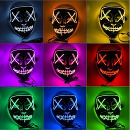 Glow dark party supplies online shopping - Halloween Mask LED Light Up Party Masks The Purge Election Year Great Funny Masks Festival Cosplay Costume Supplies Glow In Dark DHL