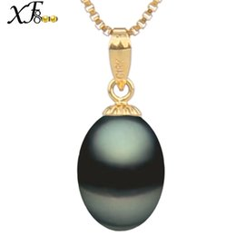 $enCountryForm.capitalKeyWord Australia - Xf800 18k Gold Pearl Necklace Pendant Black Pearl Jewelry Natural Freshwater Au750 Wedding Party Gift For Women Girl [d2211] Y19052301