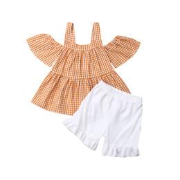 $enCountryForm.capitalKeyWord Australia - Summer 2pcs Baby Girls Plaid T Shirts Top Shorts Pants Infant Children Off Shoulder Tees Leggings Ruffles Casual Children Outfit