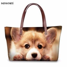 Multi Color Ladies Handbags NZ - Instantarts Fashion Large Lady Tote Bags Kawaii Dog puppy Corgi Print Woman Shoulder Bags Brand Design Travel Shopping Handbags