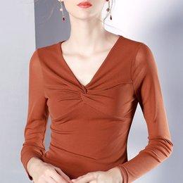 $enCountryForm.capitalKeyWord Australia - Autumn Winter Women Korean Ulzzang Low-cut T-shirt Office Lady Long Sleeve Patchwork Backing Shirt Female V-neck Vogue Tops Tee SH190718