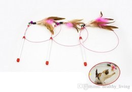 $enCountryForm.capitalKeyWord Australia - Pet Cat Toy Cute Design Steel Wire Feather Teaser Wand Plastic Toy for cats Color Multi Products For pet Product DHL Free