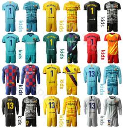 Soccer goalie jerSey online shopping - Kids Long Sleeve Goalkeeper GK Marc Andre TER STEGEN Youth Jersey Set Goalie NETO Children Football Shirt Kits Uniform