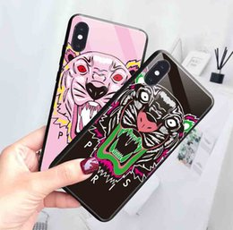 apple cellphones 2019 - 2019 Fashion Tiger Cellphone Case for IphoneXSMAX XR XS 7Plus 8Plus 7 8 6s 6sp6 6s Tempered Glass Protective Back Cover