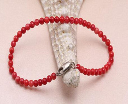 "$enCountryForm.capitalKeyWord Australia - Coral Bracelet 4mm Red Coral Beads Bracelet 7.5""sgdfhb"