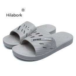 3f3c600ab9fb7 Hilabork New men s sandals summer indoor home slippers slip wear-resistant  breathable bathroom bath thick-soled sandals and shoe