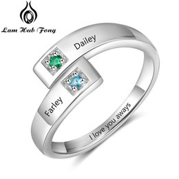 $enCountryForm.capitalKeyWord Australia - Personalized Birthstone Ring Custom Couple Ring for Women Engraved 2 Names Adjustable Promise Jewelry Gift(Lam Hub Fong)