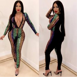 77bf3ef2935 fashion sequin bodysuit rompers womens jumpsuit long sleeve glitter one  piece bodies ladies playsuits clothes deep v neck